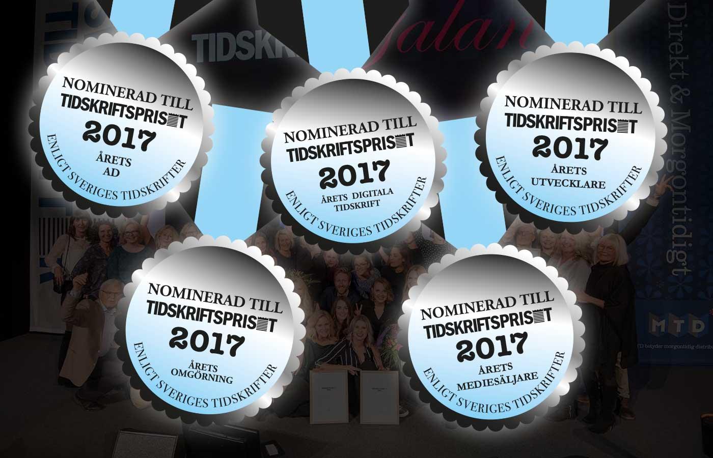Första omgången nominerade till Tidskriftspriset 2017