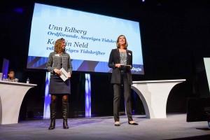 Unn Edberg (ordförande) och Kerstin Neld (vd) Sveriges Tidskrifter.