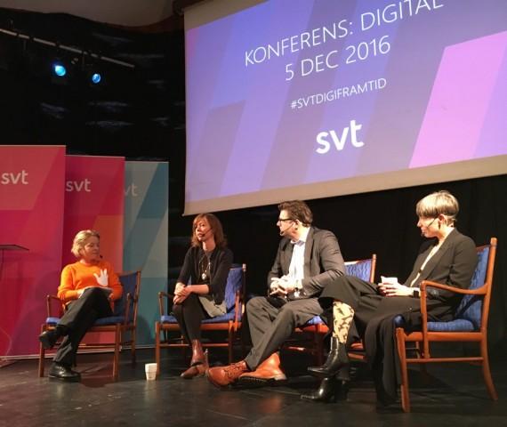 SVT Konferens: Digital. Diskussion med Karin Hübinette (SVT), Lisa Renander (Tech Farm), Jan Helin (SVT) och Darja Isaksson (Ziggy)
