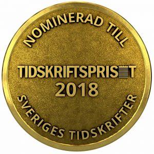 Nominerad till Tidskriftspriset 2018 medalj