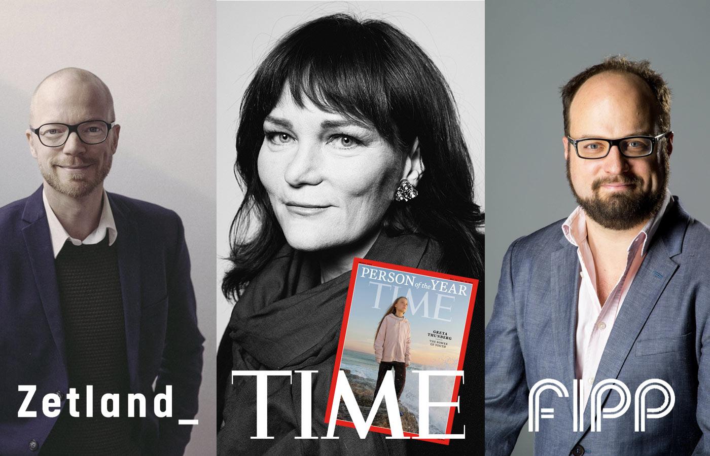 Zetland, TIME och FIPP logotyper med porträtt