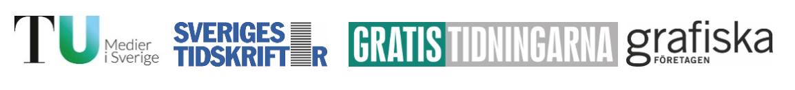 Logotyper TU, Sveriges Tidskrifter, Gratistidningarna och Grafiska företagen
