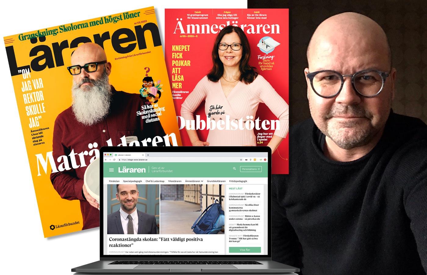 Tidningen Läraren med chefredaktör Michael Jonsson