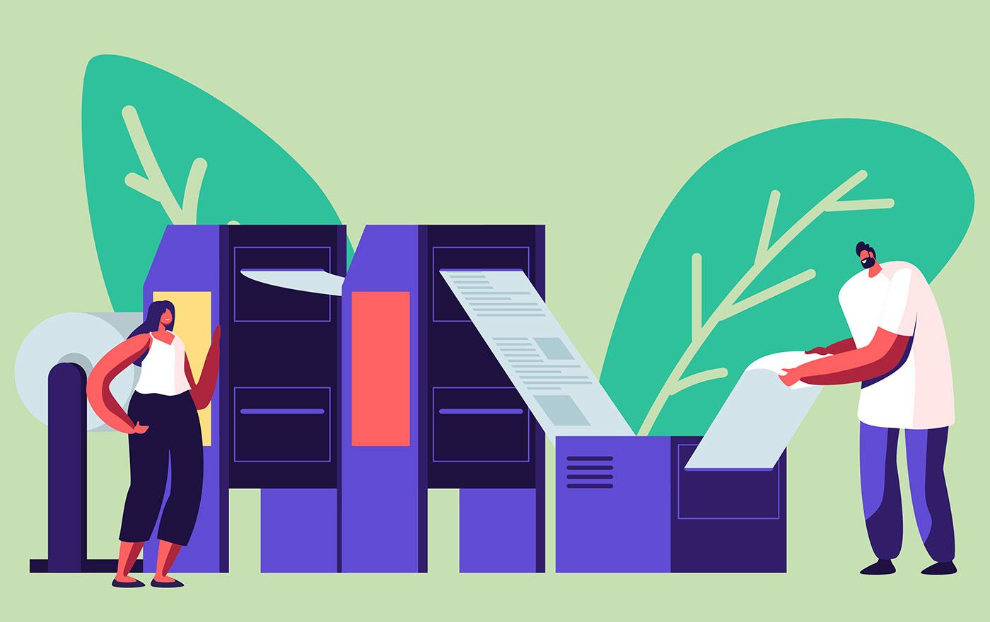 Hållbarhet illustration tidskrifter