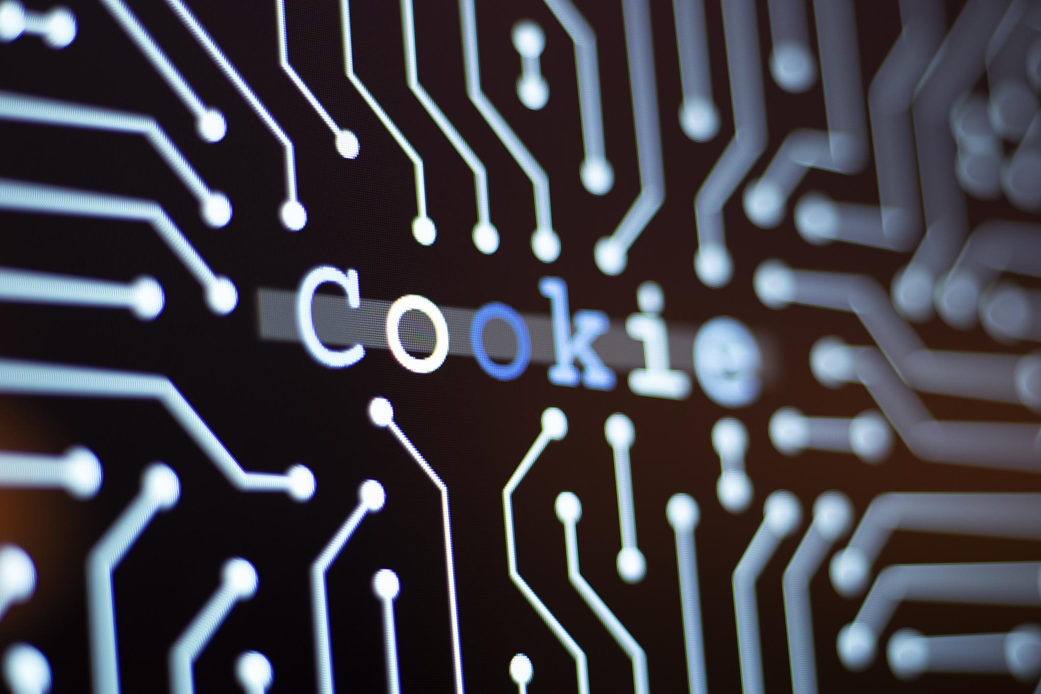 Cookie - ordet cookie på kretskort